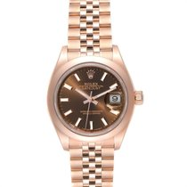 Rolex Rose gold Automatic Brown 28mm pre-owned Lady-Datejust
