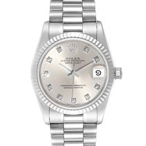 Rolex White gold Automatic Silver 31mm pre-owned Lady-Datejust