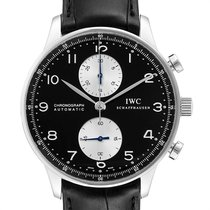 IWC Portuguese Chronograph pre-owned 40.9mm Black Chronograph Leather