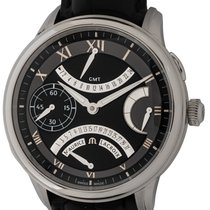 Maurice Lacroix Masterpiece pre-owned 46mm Black Date GMT Crocodile skin