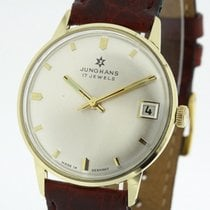 Junghans Gelbgold Handaufzug Silber 33.5mm gebraucht