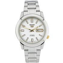 Seiko 5 Steel 38mm White No numerals