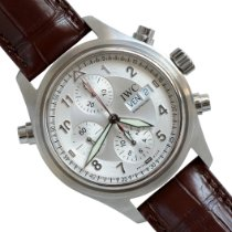 IWC Pilot Double Chronograph pre-owned 42mm Silver Double chronograph Date Crocodile skin