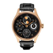 IWC Portuguese Perpetual Calendar pre-owned 44mm Black Moon phase Perpetual calendar Leather