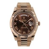 Rolex Day-Date II Or rose 41mm Brun Romains