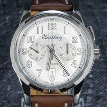 Breitling Transocean Chronograph 1915 Zeljezo 43mm Srebro Arapski brojevi