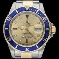 Rolex Submariner Date Or/Acier 40mm Jaune Sans chiffres
