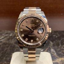 Rolex Datejust II Ouro/Aço 41mm Castanho Sem números