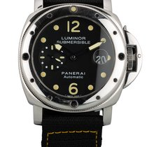 Panerai Luminor Submersible Acero 44mm Negro Arábigos