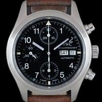 IWC Pilot Chronograph подержанные 39mm Чёрный Хронограф Дата Индикатор дней недели Кожа