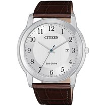 Citizen Steel 40mm Quartz AW1211-12A Citizen Eco Drive 42mm Argento Pelle Solo Tempo new