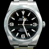 Rolex Explorer Staal 39mm Zwart Arabisch