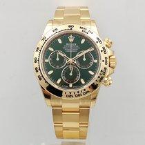Rolex Daytona Zuto zlato 40mm Zelen Bez brojeva