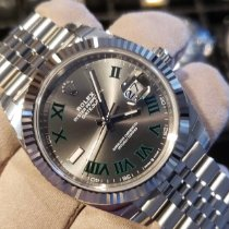 Rolex Argent Remontage automatique Noir Sans chiffres 41mm nouveau Datejust