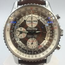 Breitling Montbrillant Datora gebraucht 43mm Braun Chronograph Datum Wochentagsanzeige Monatsanzeige Leder