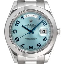 Rolex Day-Date II Platino 41mm Azul Arábigos