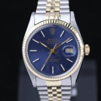 Rolex Datejust Zlato/Zeljezo 36mm Plav-modar Bez brojeva