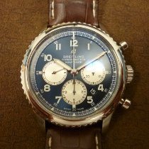 Breitling Navitimer 8 occasion 43mm Bleu Chronographe Date Cuir de crocodile