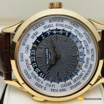 Patek Philippe World Time usados 38,5mm Gris Piel de aligátor