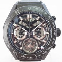 TAG Heuer Carrera Heuer-02T pre-owned 45mm Black Chronograph Tourbillon Crocodile skin