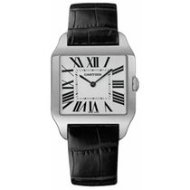 Cartier White gold Manual winding Silver Roman numerals 35mm pre-owned Santos Dumont