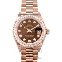 Rolex Or rose Remontage automatique Brun 28mm nouveau Lady-Datejust