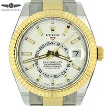 Rolex Sky-Dweller Gold/Stahl 42mm Weiß Keine Ziffern
