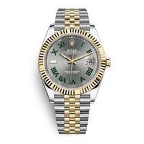 Rolex Datejust Or/Acier 41mm Argent (massif) Sans chiffres