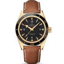 Omega Yellow gold Automatic Black Arabic numerals 41mm new Seamaster 300
