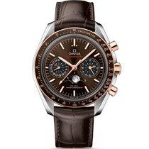 Omega Speedmaster Professional Moonwatch Moonphase Or/Acier 44.25mm Brun Sans chiffres