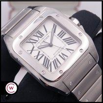 Cartier Santos 100 Stahl 38mm Weiß Römisch