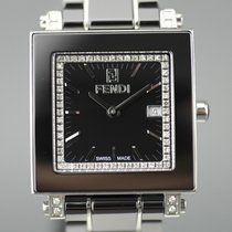 Fendi Steel Quartz Black No numerals 30mm new