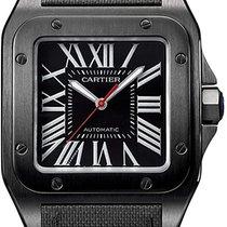 Cartier Carbon Automatik Schwarz Römisch 41mm gebraucht Santos 100