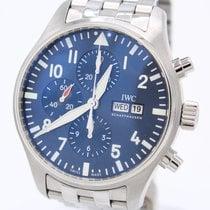 IWC Fliegeruhr gebraucht 43mm Blau Chronograph Stahl