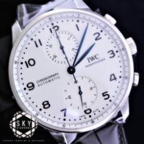 IWC Portuguese Chronograph pre-owned 41mm White Double chronograph Date Crocodile skin