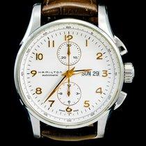 Hamilton Jazzmaster Maestro occasion 45mm Blanc Chronographe Date Affichage des jours Cuir de crocodile
