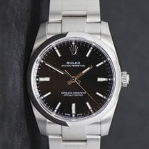 Rolex Oyster Perpetual 34 Steel 34mm Black No numerals