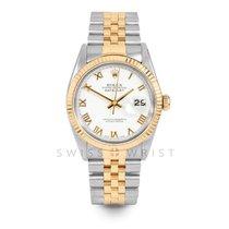Rolex Datejust Gold/Stahl 36mm Weiß Römisch