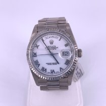 Rolex White gold Automatic White Roman numerals 36mm pre-owned Day-Date 36