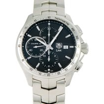 TAG Heuer Link Calibre 16 pre-owned 43mm Black Chronograph Steel