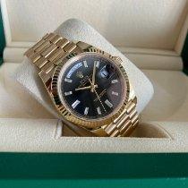 Rolex Day-Date 40 Geelgoud 40mm Zwart Geen cijfers