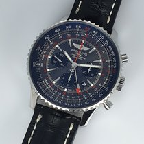 Breitling Navitimer GMT pre-owned 48mm Black Chronograph Date GMT Leather