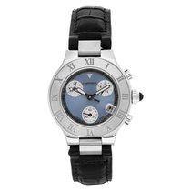 Cartier 21 Chronoscaph Stahl 31mm Blau Keine Ziffern