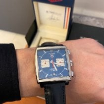 TAG Heuer Monaco Calibre 12 Steel 39mm Blue No numerals
