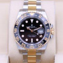 Rolex GMT-Master II Золото/Cталь 40mm Чёрный Без цифр