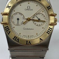 Omega Constellation Day-Date Gold/Steel 33.5mm White No numerals