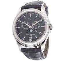 Patek Philippe Platinum Automatic Grey No numerals 39mm pre-owned Annual Calendar