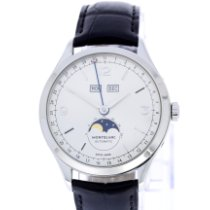 Montblanc Heritage Chronométrie pre-owned 40mm Silver Moon phase Date Weekday Month Crocodile skin