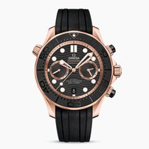 Omega Red gold Automatic Black No numerals 44mm new Seamaster Diver 300 M