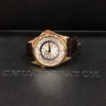 Patek Philippe World Time occasion 39.5mm Argent GMT Cuir